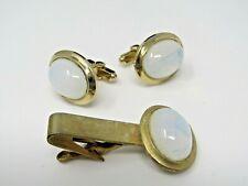 Vintage Men's Jewelry Set Cufflinks Tie Bar Clip Milky White Accent
