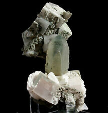 Pink Calcite Crystal on Green Phantom Quartz  Mineral From Inner Mongolia China!
