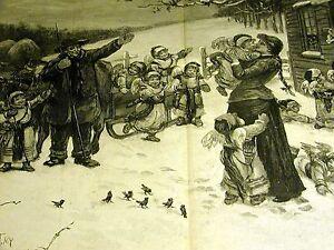 Christmas Angels & Santa Farmer VISIT FARM 1886 VERY FINE Large Folio Print