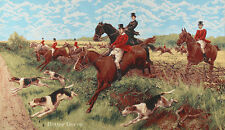 """33"""" WALL JACQUARD WOVEN TAPESTRY English Hunting EUROPEAN HORSES DOGS PICTURE"""