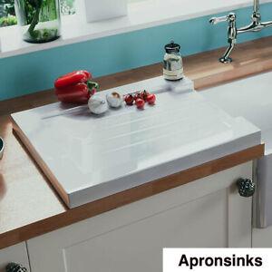 Belfast Butler Kitchen Sink Drain Board Grooved Farmhouse White Gloss New
