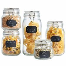VonShef Set of 5 Clip Top Airtight Silicone Seal Glass Storage Preserving Jars
