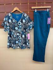 New Healing Hands Caribbean Blue Print Scrub Set With 3Xl Top & 3Xl Petite Pants