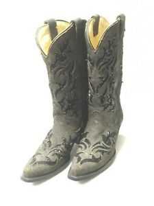Ladies Corral Boots-Brown/Black Sequin Inlay Style R1152