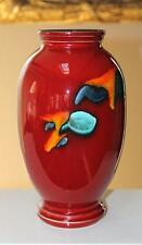 "Poole Art Pottery Large Volcano Red Vase 10"" Tall"