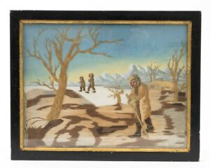 """Mixed Media Artwork Embroidered Silk & Paint Northern Agrarian Scene 14.5"""" x 18"""""""