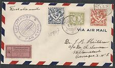 Surinam covers 1931 registered 1st Flight cover to Curacao