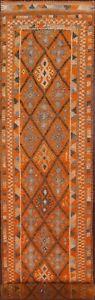 Vintage Geometric South-western Moroccan 15 ft ORANGE Runner Rug Tribal 3'x15'