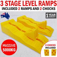 NEW 3 Stage Caravan Leveling Ramps & Chocks Kit RV Heavy Duty Tandem Level Ramp