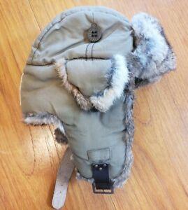 MAD BOMBER Genuine Nautral Rabbit Fur Lining Trapper Hat SZ S Unisex