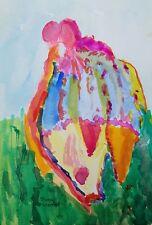 "Art Free Shipping-Painting original colorful""Egg Fish""Landing""5x 7"" watercolor-Jw"