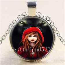 Wolf and Little Red Riding Hood Cabochon Glass Tibet Silver Chain Necklace