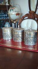 Metal Brass Silver Plate Lidded Canister Jars Set of 3