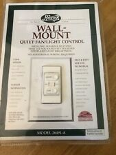 Hunter Wall Mount Quiet Fan /light Control Model 26491-A New