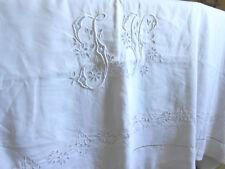 drap ancien broderie richelieu fil de lin 225x320 important monogramme JV/n°2