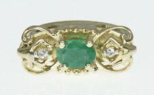 14k Yellow Gold Klein KLJCI Slide Bracelet Charm Emerald and Diamonds
