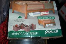 Richards Homeware Stackable 4 Wood Bed Lifters Natural  MAHOGANY Finish Hardwood