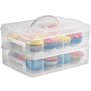 Stapelbare Cupcake/Muffin-Transportbox aus Kunststoff, Rechteckig