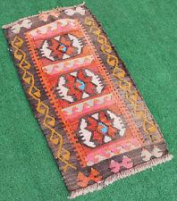 Turkish Kilim Rug 18''x34'&# 039; Handwoven Kirsehir Mini Kilim 47x88cm Door Mat Wool