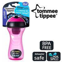Tommee Tippee Compact Lightweight Water Filter Drinks Bottle Children Girls Pink