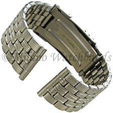 20mm Hirsch Titanium Security Fold Over Clasp Straight End Mens Watch Band LONG
