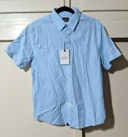 UNTUCKit Medium Short-sleeve Shirt Regular Fit Light Blue Gingham Check Cotton