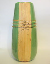 Primitive Tribal Ceramic Pottery Vase Green with Natural Bamboo Accent 13 Inches