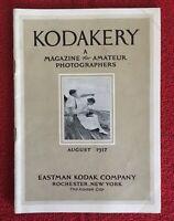 {Aug 1917} KODAKERY MAGAZINE MANUAL BOOKLET KODAK PHOTOGRAPHY CAMERA {Vintage}