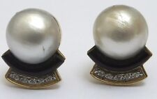 Antiguo Oro 18 CT Platino Diamante Onyx Pendientes de Perla Mabe