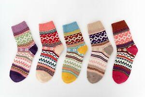 5 Pairs Womens Winter Warm Thermal Lambs Wool Merino Heavy Duty Boot Socks 5-9