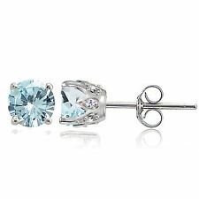 Sterling Silver Aquamarine and White Topaz Crown Stud Earrings
