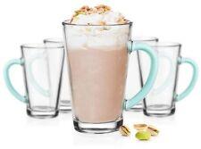 6 Latte Macchiato Gläser 300 ml mit türkisem Henkel Tee Kaffee Kaffeegläser