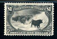 USAstamps Unused VF US 1898 $1 Trans-Mississippi Cattle in Storm Sctt 292 OG MNH