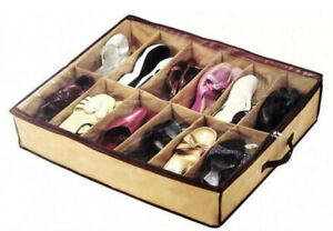 NEW. Underbed Zipped Storage with Clear Cover Holds 12x Shoes Organiser