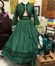 Custom Made Civil War Reenactment Green Two Piece Outfit with Bonnet