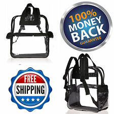Mens' Boy's Transparent School Security Clear Backpack Book Bag For Sports Event