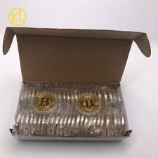 50pc Gold Bitcoin Coin Physical Collectible BTC Coins Cryptocurrency Metal Coins
