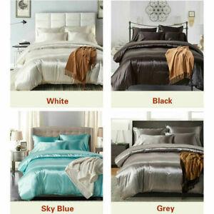 3Pcs Luxury Silk Satin Duvet Cover Pillow Cases Bedding Set American Size Modern