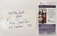 Eddie Layton Signed Autographed 3x5 Card JSA Certified Yankees