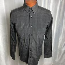 Level Ten Long Sleeve Men's Shirt, Black with Grey Stripes, Size L