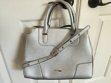 REBECCA MINKOFF *AMOROUS* LEATHER SATCHEL CROSSBODY SILVER *NEW*
