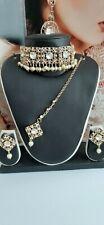 New Elegant chokar necklace tikka Earrings set White Gold Pearl Party Bridal-101