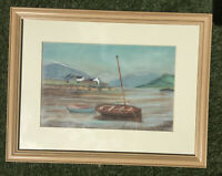 Plockton, Scotland by A W Farr - Original Pastel Drawing / Painting. Framed