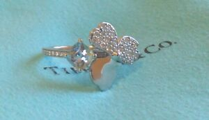 Tiffany & Co. Platinum Paper Flowers Diamond and Aquamarine Flower Ring Size 6