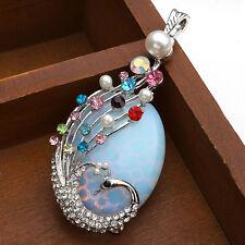 Damen schöner Edelstein Pfau Opal Anhänger Strass Schmuck für Halskette Pendant