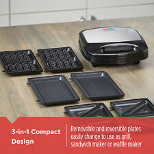 BLACK and DECKER 3 in 1 Meal Station Waffle Maker Grill Sandwich Maker Non Stic