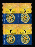 Australia 2005 : Centenary of RotaryInternational, Block of 4 x 50c Stamps, MNH
