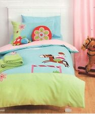 LINEN HOUSE Jinx PONY CLUB Blue Green Applique Horse DOUBLE Quilt Duvet Cover
