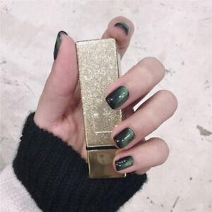 24pcs Green Cat Eye Fake Nail Short Full Cover False Nails Salon Manicure NNL619