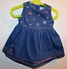 Baby GAP denim dress with embroidery for infant girls size 6-12 Month